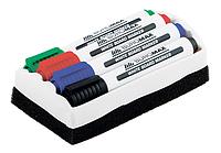 Комплект: 4 маркери + губка для магнітних сухостираємих дошок