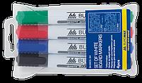 Комплект: 4 маркери для магнітних сухостираємих дошокк, JOBMAX