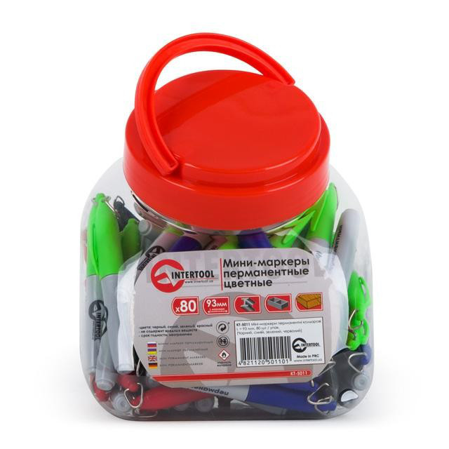 Мини-маркеры перманентные цветные, L= 93 мм, 80 шт/упак. (черный, синий, зеленый, красный) INTERTOOL KT-5011