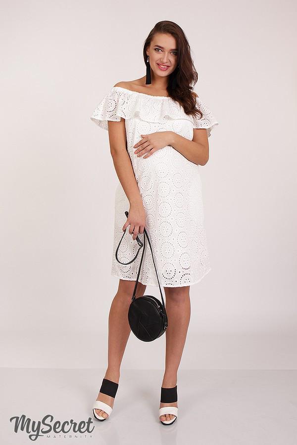 Нарядное платье для беременных и кормящих ELEZEVIN DR-28.043 молочное