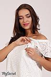 Нарядное платье для беременных и кормящих ELEZEVIN DR-28.043 молочное, фото 3