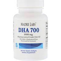 Madre Labs, DHA 700 Рыбий жир, Фармацевтический сорт, 1000 мг, 30 рыбных желатиновых солевых гелей