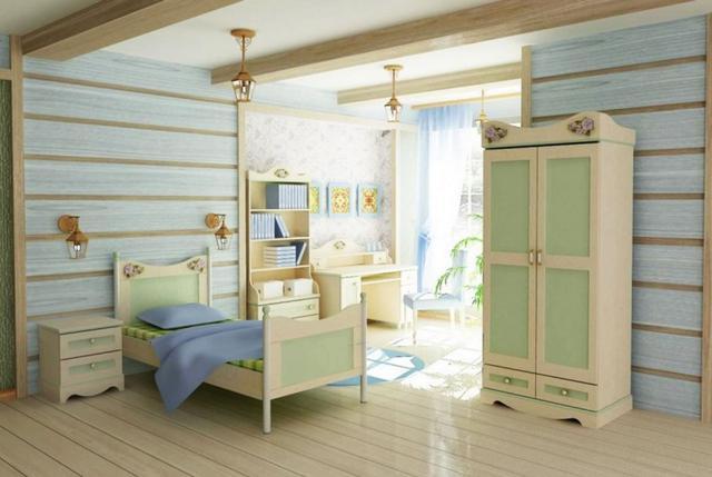 Детская комната Angel ДСП береза с разноцветными вставками