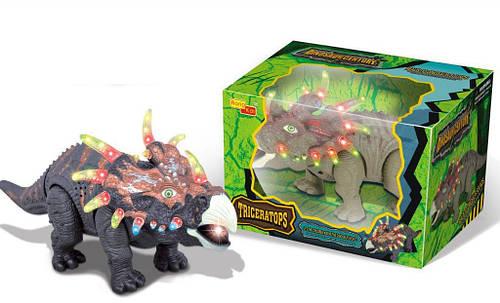 Динозавр Трицераторпс ходит, музыкальный со светом, в коробке