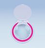 Led лампа 3 D белая  металлическая с розовым кантом
