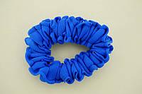 Резинка для волос, шифон, синяя ,  5 см, (2шт)