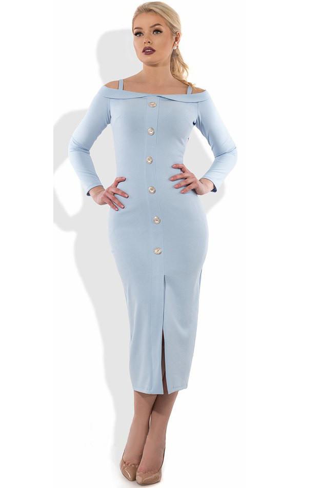c3a462ed63a Голубое платье футляр миди Д-1066 - KORSETOV - Магазин женской одежды и  белья в