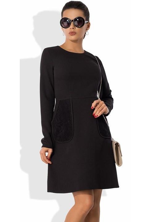 4620cd1238b Черное офисное платье с кружевными карманами Д-1054 - KORSETOV - Магазин  женской одежды и