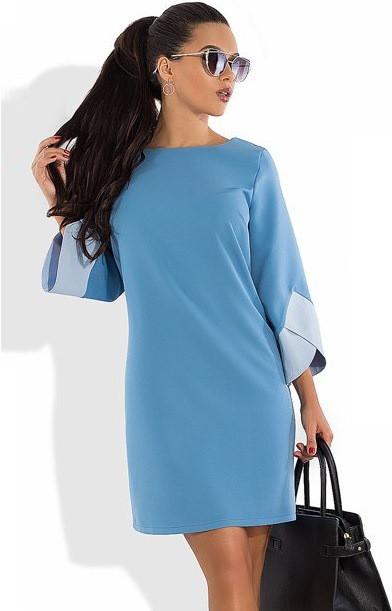 Блакитне плаття з оригінальними рукавами Д-1051