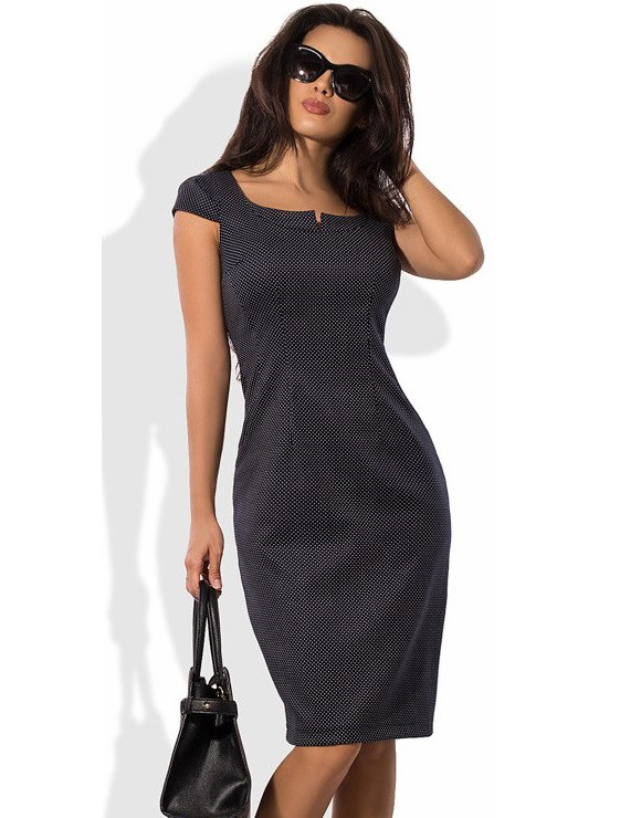 5aae1f417e4c78b Деловое Черное Платье Футляр в Горошек Д-1048 — в Категории