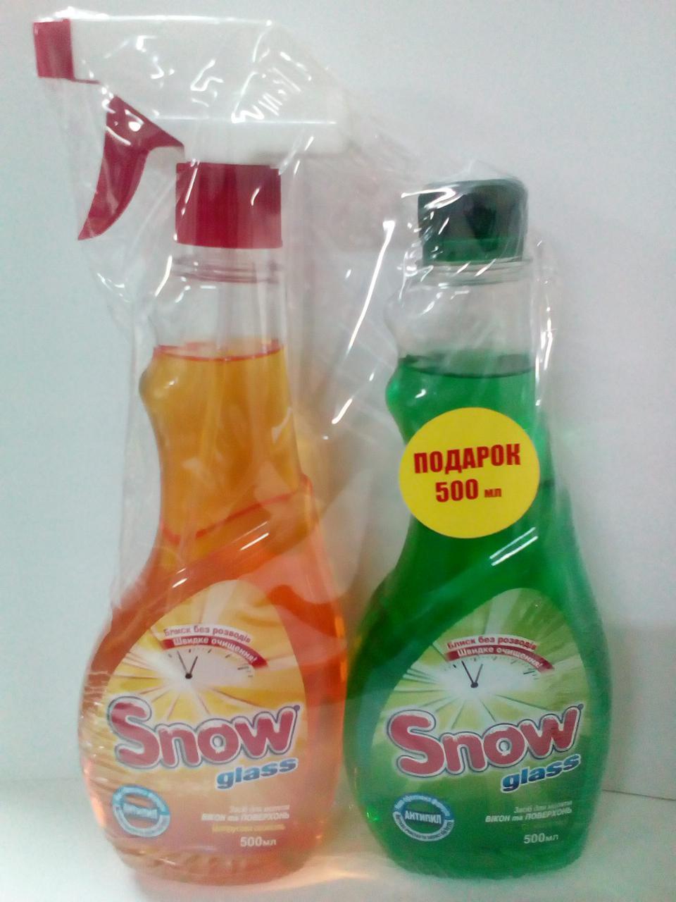 Засіб для миття вікон та поверхонь з Цитрусова Свіжість + змінний (Свіжість Хвої) 500 мл Prompack Snow Glass