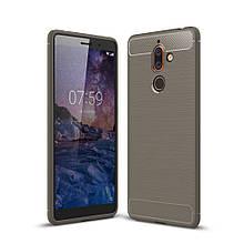 Чехол накладка TPU Fiber Carbon для Nokia 7 plus серый