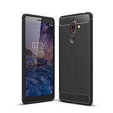 Чехол накладка TPU Fiber Carbon для Nokia 7 plus черный