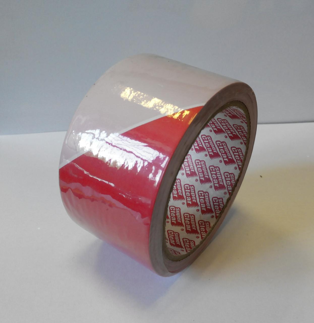 Лента сигнальна, оградительная 50 метров красно-белая