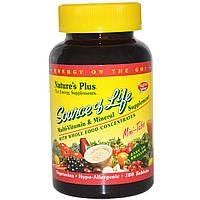 Мультивитамины, Source of Life, Natures Plus, 180 мини таблеток