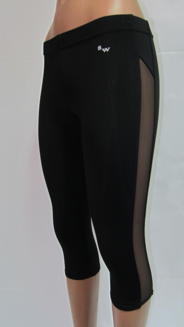 Женские черные спортивные капри со вставкой из сетки