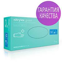 Нитриловые перчатки Green Nitrylex PF текстурированные на пальцах, неопудренные, 50пар в упаковке