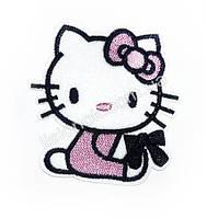 Термо-нашивка на одежду Hello Kitty с розовым бантом