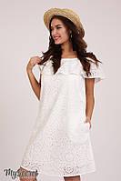 Платье для беременных и кормящих ELEZEVIN DR-28.043, молочное. Плаття для вагітних, фото 1