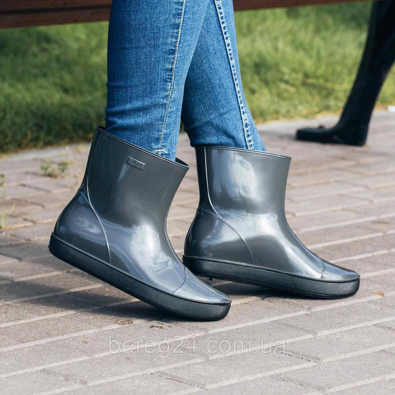 Женские резиновые сапоги (ботинки, ботильоны) Nordman Alida (Алида) серые. Размер 41