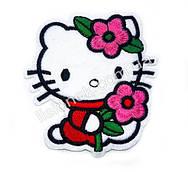 Термо-нашивка на одежду Hello Kitty с цветочками