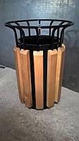 Урна металлическая с деревянным декором