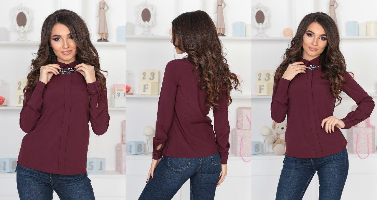 Красивая женская блузка с планкой, и украшением под воротником(4расцв.)