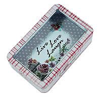 Контейнер для сыпучих Бисквитница Любовь жива, 250г ( металлическая коробка)