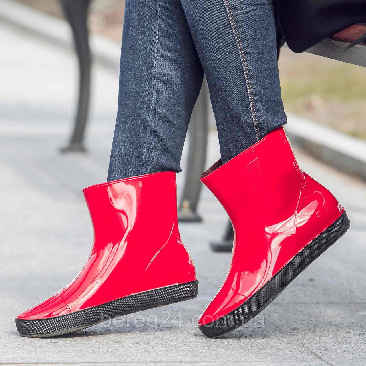 Жіночі гумові чоботи (черевики, ботильйони) Nordman Alida (Аліда) Червоні. Розмір 36