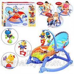 Детский шезлонг, кресло, качалка 7179, 3 в 1 вибро, музыка, игрушки