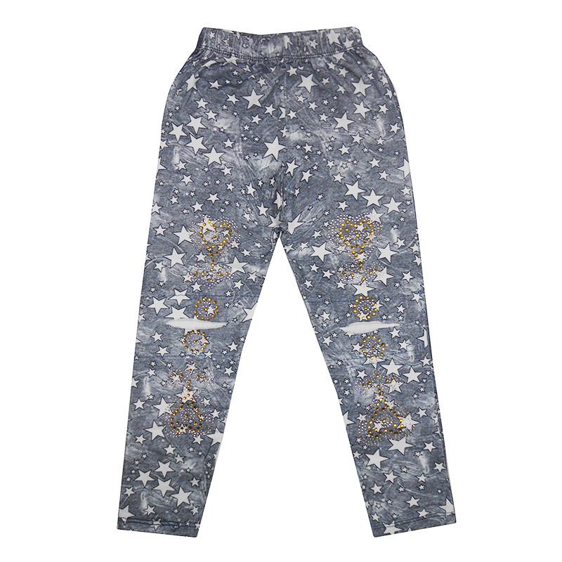 Лосины для девочек 110-128 (5-8 лет) , джинсовый фон,белые звезды
