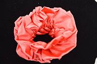 Резинка для волос, атлас, коралловая, диаметр 11 см, (1шт)