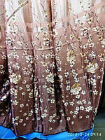 Штора с цветами коричневого цвета  высота 2.8 м На метраж и опт, фото 1