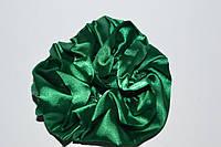 Резинка для волос, атлас, темно-зеленая, диаметр 11 см, (1шт)