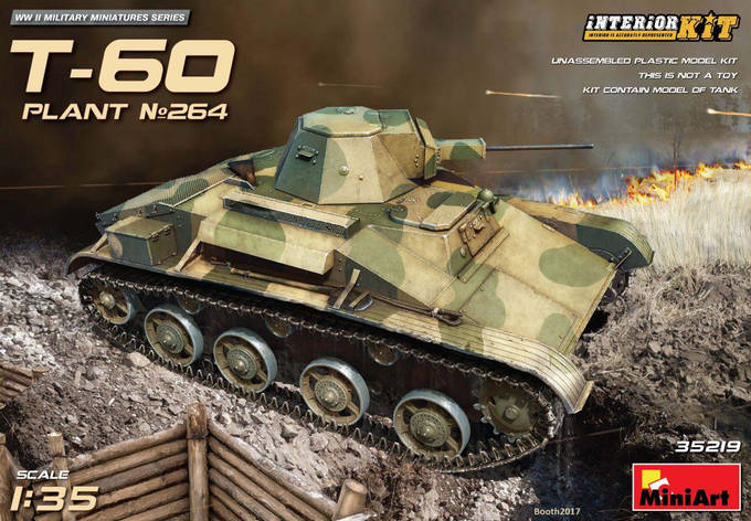 Советский легкий танк Т-60 завода №264 с интерьером. 1/35 MINIART 35219, фото 2