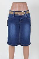 Женская джинсовая юбка до колена длинной