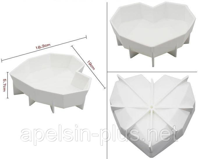 Силиконовая форма для евродесертов Сердце Amore Origami объем 600 мл