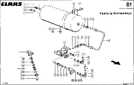 1-ПРОВОДНАЯ ПНЕВМАТИЧЕСКАЯ СИСТЕМА ТОРМОЗОВ - CLAAS QUADRANT 1100 (2)