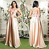 """Длинное розовое вечернее платье из атласа """"Гармония"""""""