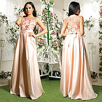"""Длинное розовое вечернее платье из атласа """"Гармония"""", фото 1"""