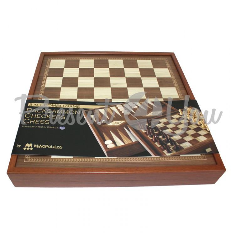 Шахматы+Нарды+Шашки (3 в 1) Manopoulos, 40х40 см (STP-36E)