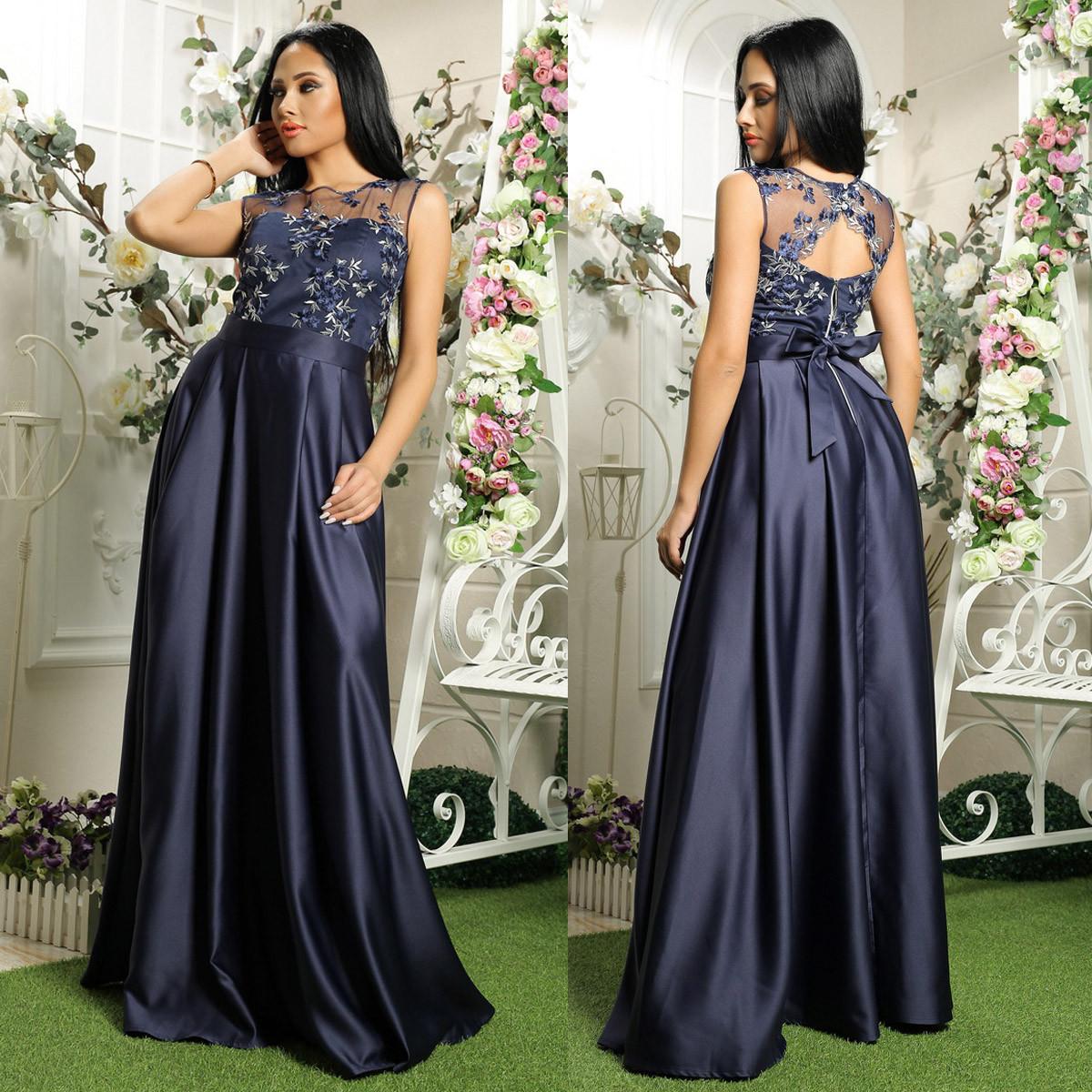 28c1203621d8e8d Синее атласное вечернее длинное платье на выпускной