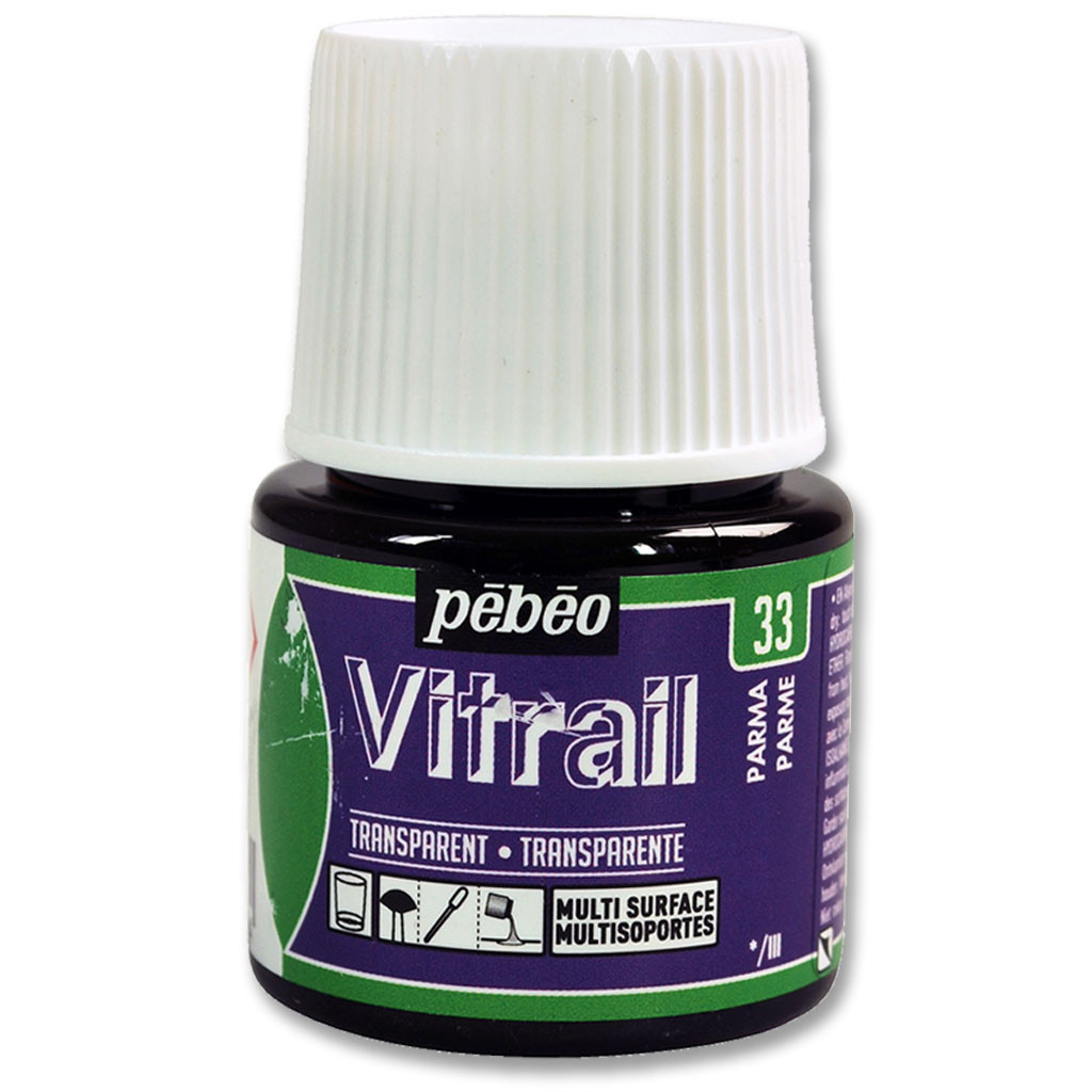 Краска витражная Пебео Pebeo Vitrail Франция, 45 мл, прозрачная, пармская фиалка, 33