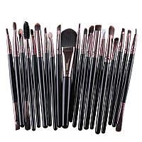 Набор кисточек  для макияжа из 20 шт цвет черный -  кофейный