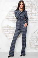 Костюм брючный Амбрэ клетка серо-синий, женский брючный костюм, деловой костюм, дропшиппинг
