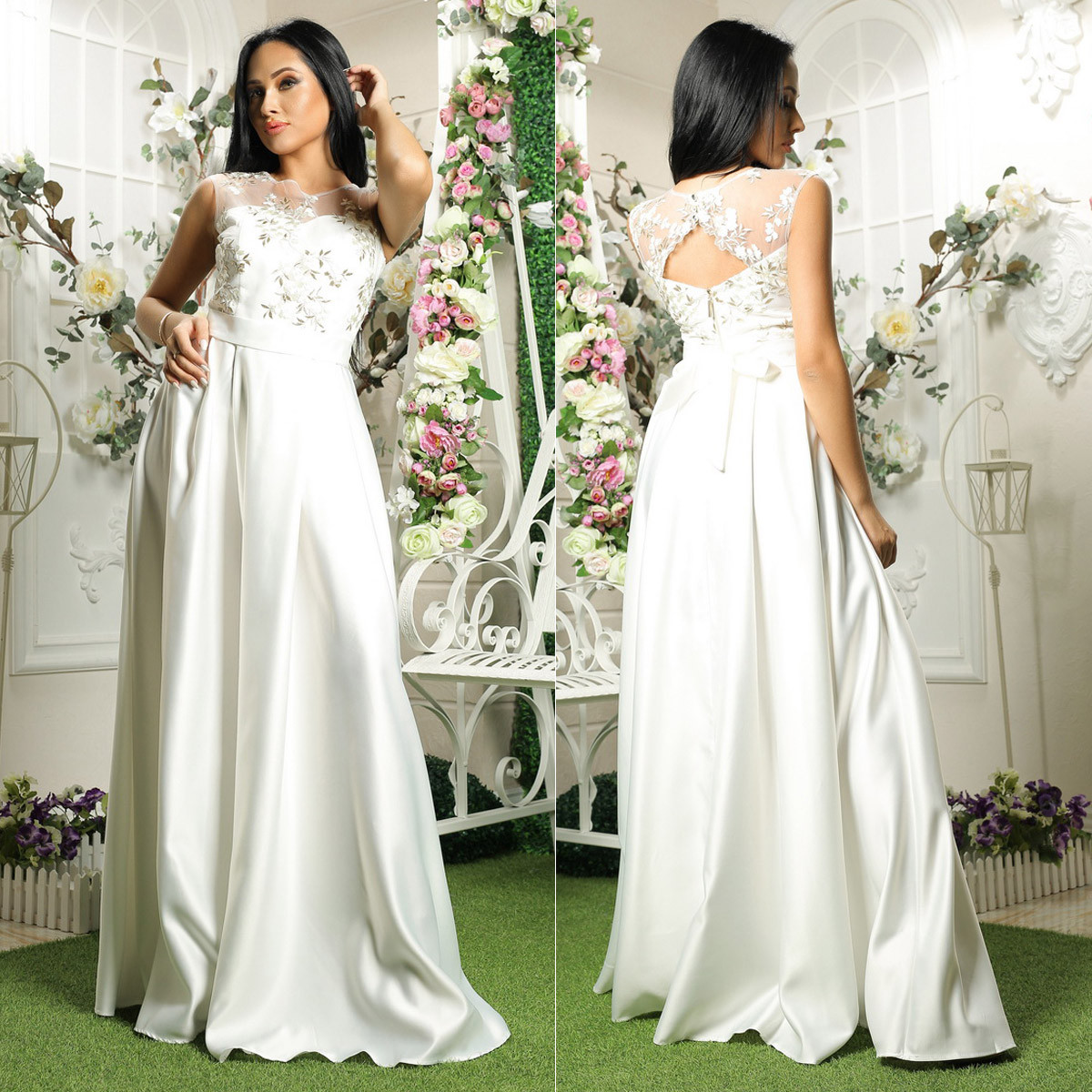 """Атласное свадебное, вечернее длинное платье, платье на выпускной """"Гармония"""""""
