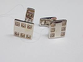 Срібні запонки з фіанітами. Артикул 907-00116