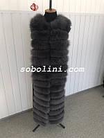 Жилет  из пальтовой трикотажной ткани с песцом, цвет графит, в наличии