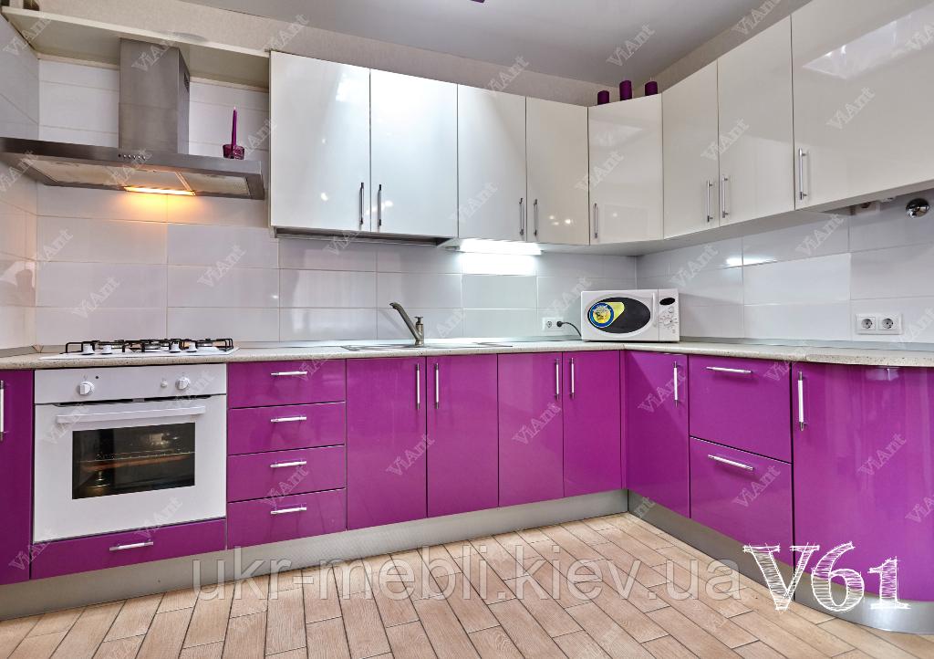 Кухня под заказ с глянцевым плёночным фасадом МДФ,  V-61