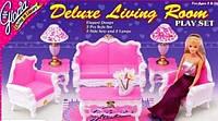 Мебель для кукол Gloria Глория 2317 Гостиная Барби диван, кресла, журнальный столик, лампы